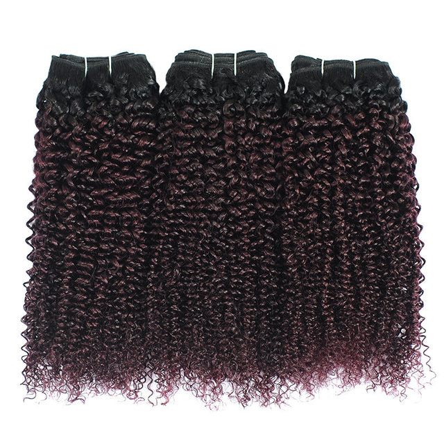 Vvwig 1B 135 Ombre Color Full And Thick 3 Bundles No Tangle No Shedding Kinky Curly Hair Bundles