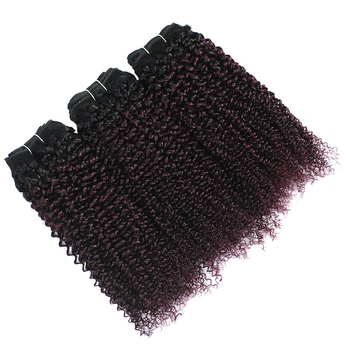 Vvwig 1B 135 Ombre Color Full And Thick 3 Bundles No Tangle No Shedding Kinky Curly Hair Bundles - Vvwig.com