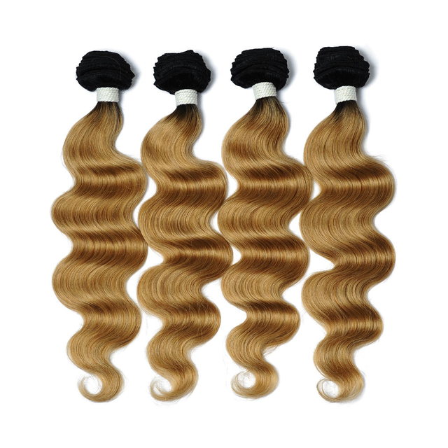 Vvwig 1B 27 Ombre Color Weave Hair 4 Bundles 100% Human Hair Body Wave Bundles Durable With Very Few Shedding