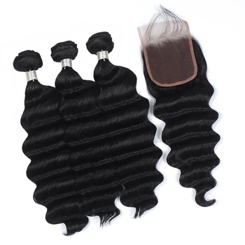 Vvwig Remy Hair Natural Hair Colors Malaysian 3 Bundles With Closure One Direction Cuticles Loose Deep Wave Hair - Vvwig.com