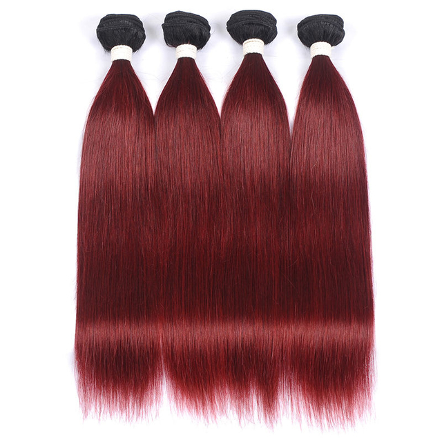 Vvwig 1B 99J Hair Color Brazilian Hair 4 Bundles Invisible Weave Hair Straight Bundles Tangle Free