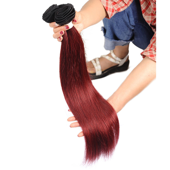 Vvwig 1B 99J Hair Color Brazilian Hair 4 Bundles Invisible Weave Hair Straight Bundles Tangle Free - Vvwig.com