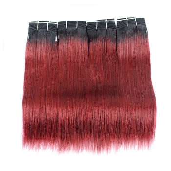 Vvwig 1B 99j Ombre Color Weave Hair Tangle Free 4 Bundles Virgin Hair No Chemical Processed Straight Bundles - Vvwig.com