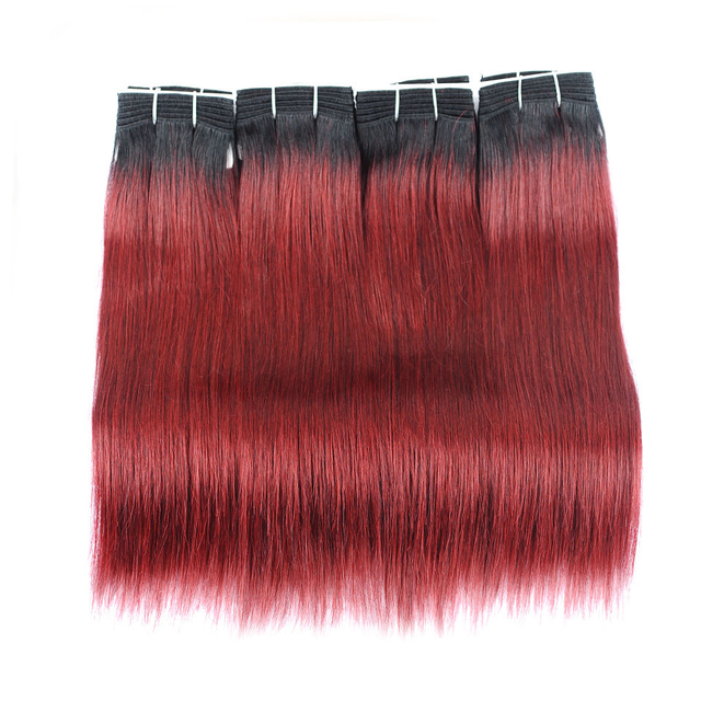 Vvwig 1B 99j Ombre Color Weave Hair Tangle Free 4 Bundles Virgin Hair No Chemical Processed Straight Bundles