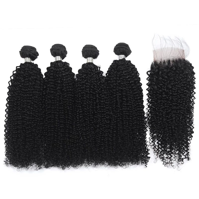 Vvwig Natural Black Or Can Be Customed Remy Hair Pretty Soft Texture Jerry Curly Hair 4 Bundles With Closure