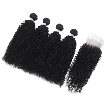 Vvwig Natural Black Or Can Be Customed Remy Hair Pretty Soft Texture Jerry Curly Hair 4 Bundles With Closure - Vvwig.com