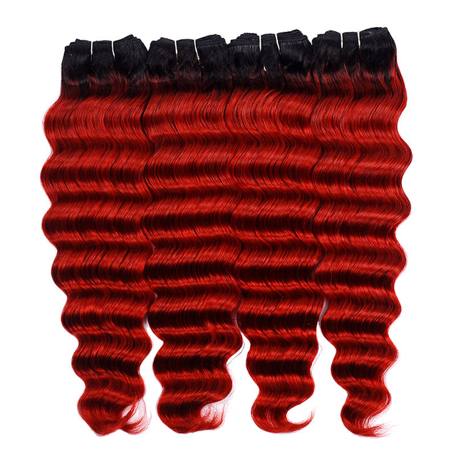 Vvwig 1B Red Ombre Color Virgin Hair 4 Bundles Loose Wave Bundles Healthy Shiny With Highest Elasticity