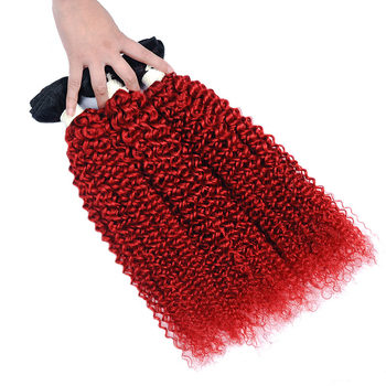 Vvwig 1B Hair Color Ombre Red Jerry Curly Hair 3 Bundles With Closure Remy Hair Healthy And Soft Hair Ends - Vvwig.com