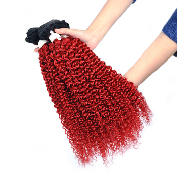 Vvwig Virgin Hair 1B Red Ombre Hair Jerry Curly Hair 3 Bundles With Closure 100% Unprocessed Human Hair - Vvwig.com