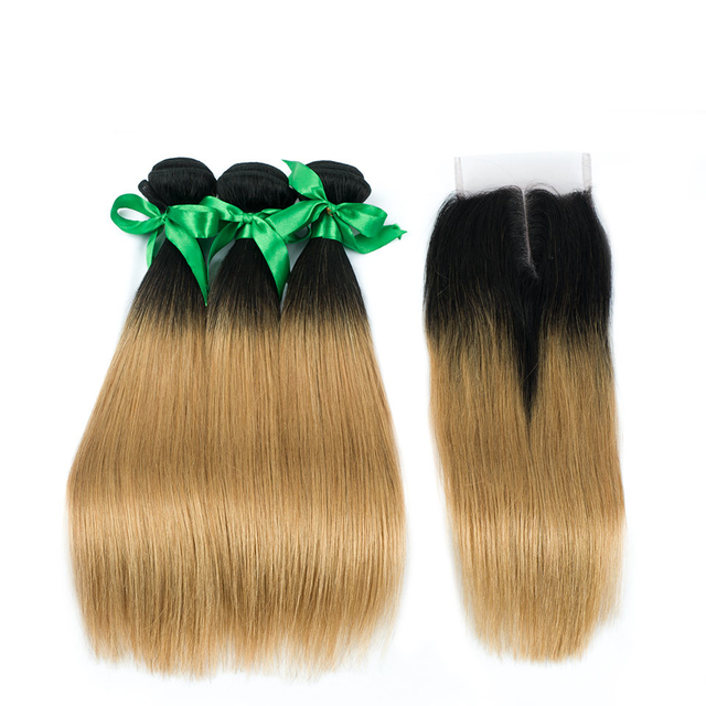 Vvwig Remy Hair 1B 27 Ombre Hair Straight Hair Healthy Shiny Luster 3 Bundles With Closure One Direction Cuticles