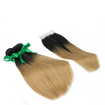Vvwig Remy Hair 1B 27 Ombre Hair Straight Hair Healthy Shiny Luster 3 Bundles With Closure One Direction Cuticles - Vvwig.com