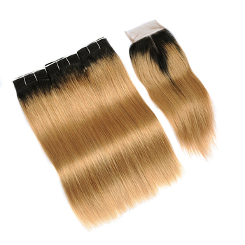 Vvwig Virgin Hair 1B 27 Ombre Color 3 Bundles With Closure 4*4 Inch Lace Straight Hair Full And Thick - Vvwig.com