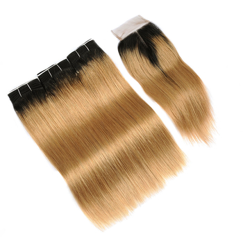 Vvwig Remy Hair 1B 27 Ombre Color Straight Hair 3 Bundles With Closure 4*4 Inch Lace Pre Plucked Natural Hairdine - Vvwig.com
