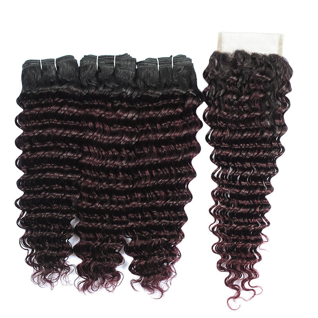 Vvwig Virgin Hair 1B Bug Ombre Hair One Direction Cuticle Deep Wave Hair Soft Ends 3 Bundles With Closure