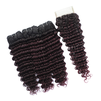 Vvwig Remy Hair 1B Bug Ombre Hair 3 Bundles With Closure Deep Wave Hair Soft And Easy To Style - Vvwig.com