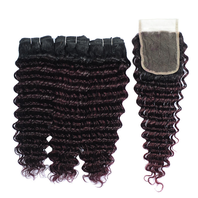 Vvwig Remy Hair 1B Bug Ombre Hair 3 Bundles With Closure Deep Wave Hair Soft And Easy To Style