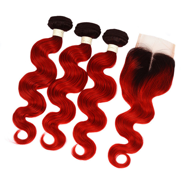 Vvwig Virgin Hair 1B Red Ombre Hair Brazilian Body Wave Hair 3 Bundles With Closure 4*4 Inch Lace Shedding Free
