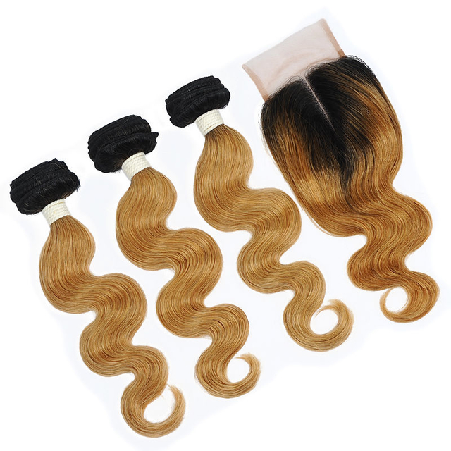 Vvwig Virgin Hair 1B 27 Body Wave Hair No Chemical Processed 3 Bundles With Closure 4*4 Inch Lace