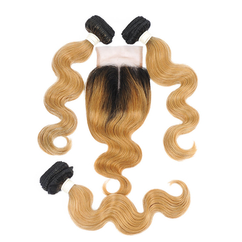 Vvwig Remy Hair 1B 27 Ombre Hair 3 Bundles With Closure 4*4 Inch Lace Body Wave Hair Pre Plucked Natural Hairdine - Vvwig.com