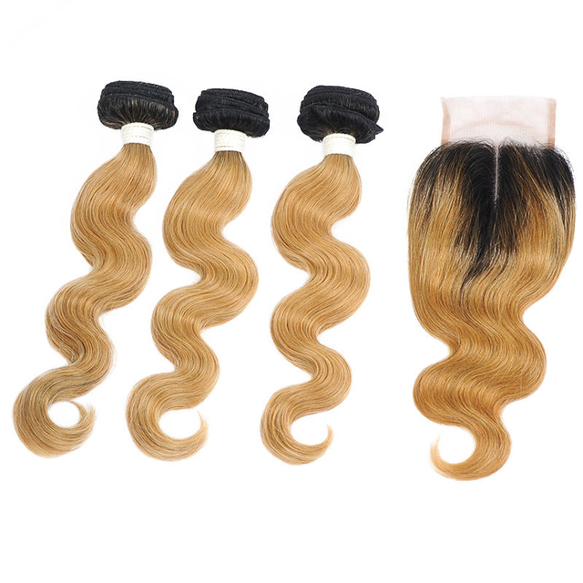 Vvwig Remy Hair 1B 27 Ombre Hair 3 Bundles With Closure 4*4 Inch Lace Body Wave Hair Pre Plucked Natural Hairdine