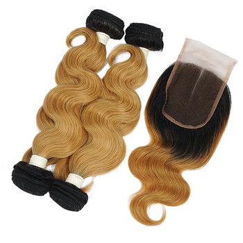 Vvwig Premium Natural Looking 1B 27 Ombre Hair 4 Bundles With Body Wave Closure No Smell Or Shedding - Vvwig.com