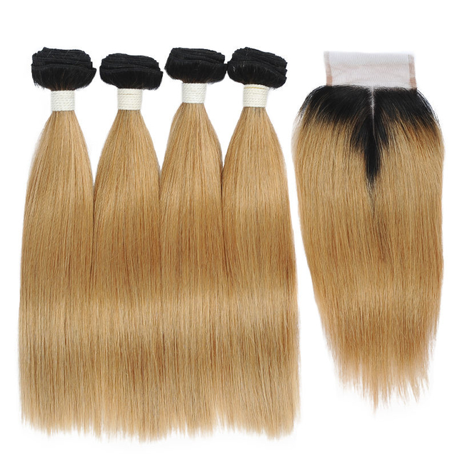 Vvwig Smooth Touch Premium 1B 27 Ombre Hair Human Hair 4 Bundles With Straight Hair Closure Natural Feeling