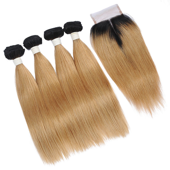 Vvwig Smooth Touch Premium 1B 27 Ombre Hair Human Hair 4 Bundles With Straight Hair Closure Natural Feeling - Vvwig.com