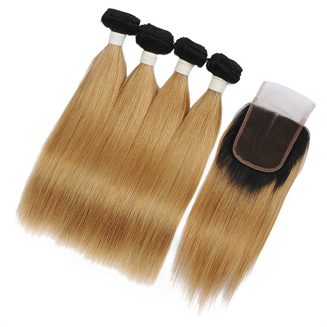 Vvwig Remy Hair 1B 27 Ombre Hair Full And Thick 4 Bundles With Straight Hair Closure Highest Elasticity