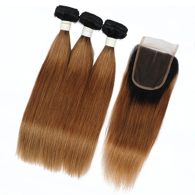 Vvwig Remy Hair 1B 30 Ombre Hair No Chemicals 3 Bundles With Straight Hair Closure Healthy And Soft Hair Ends