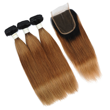 Vvwig Remy Hair 1B 30 Ombre Hair No Chemicals 3 Bundles With Straight Hair Closure Healthy And Soft Hair Ends - Vvwig.com