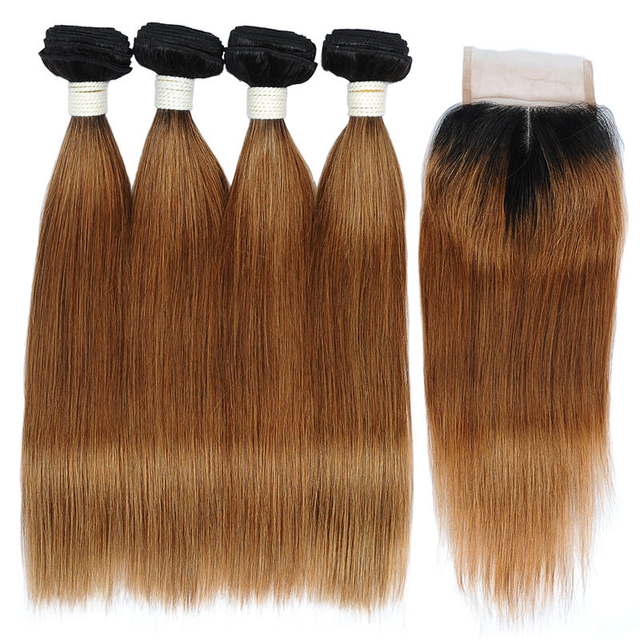 Vvwig Remy Hair 1B Hair Color Ombre Hair 1B 30 Tight And Neat 4 Bundles With Straight Hair Closure