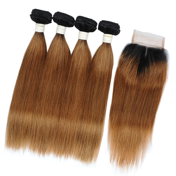 Vvwig Remy Hair 1B Hair Color Ombre Hair 1B 30 Tight And Neat 4 Bundles With Straight Hair Closure - Vvwig.com