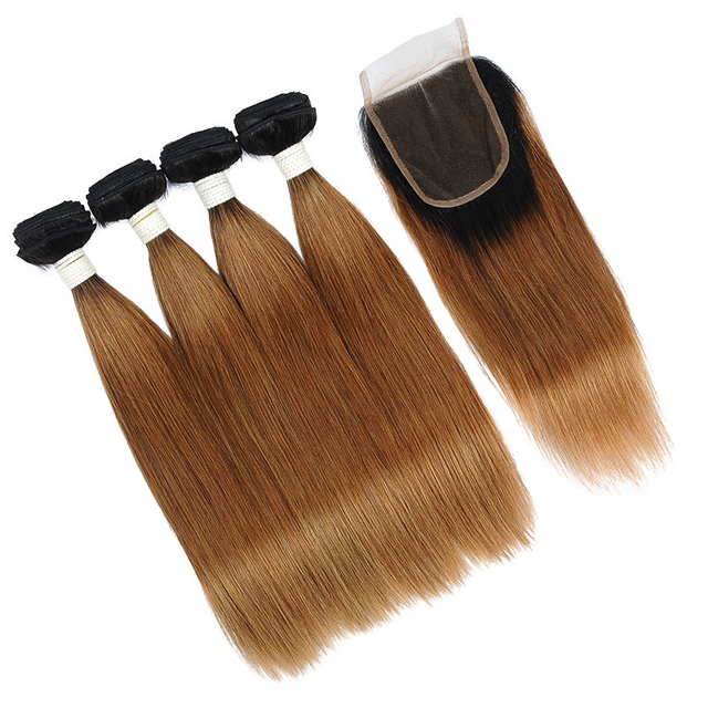 Vvwig Good Feeling Soft Smooth 1b 30 Ombre Hair Straight Hair 4 Bundles With Closure 100 Unprocessed Hair 10A Grade