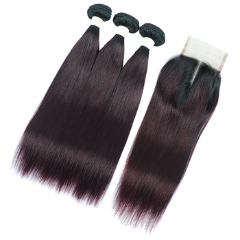 Vvwig Remy Hair 1B Grape Purple Straight Hair Soft Touch Feeling 3 Bundles With Closure Soft And Easy To Style - Vvwig.com