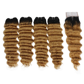 Vvwig Breathable 1B 27 Ombre Color Indian 4 Bundles With Loose Deep Wave Closure Tangle Free Shedding Free - Vvwig.com