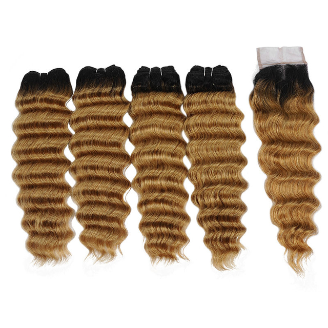 Vvwig Breathable 1B 27 Ombre Color Indian 4 Bundles With Loose Deep Wave Closure Tangle Free Shedding Free