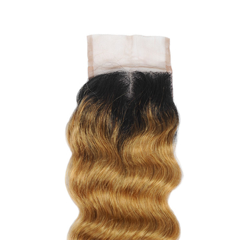 Vvwig Remy Hair 1B 27 Ombre Hair Natural And Comfortable 4 Bundles With Loose Deep Wave Closure - Vvwig.com