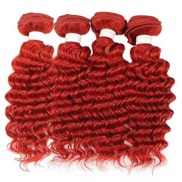 Vvwig Red Color 4 Bundles Deep Wave Bundles No Shed Double Weaving Weave Hair Soft And Easy To Style