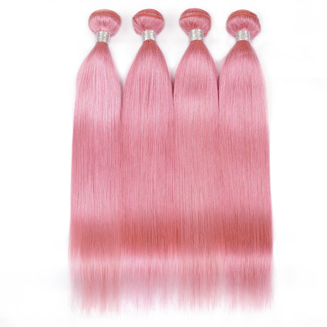 Vvwig 4 Bundles Indian Hair Pink Color Silk Soft And Shinning Straight Bundles Tight / Neat Weft Virgin Hair