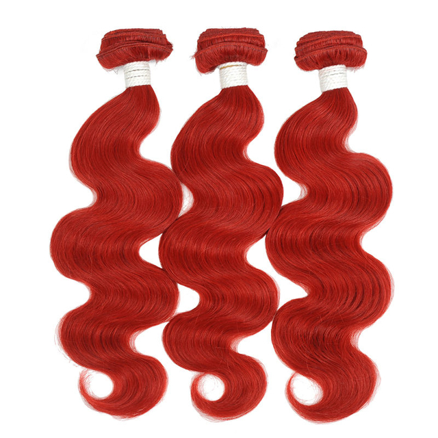 Vvwig Red Hair Body Wave Bundles No Shedding No Tangle Indian Human Hair 3 Bundles Super Soft