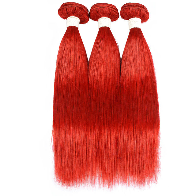 Vvwig Red Hair Extensions Silky Straight Bundles Indian Hair Weave 3 Bundles 100% Human Hair