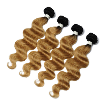 Vvwig 1B 27 Ombre Color Body Wave Hair 4 Bundles With Closure 4 * 4 Lace Virgin Hair Soft And Easy To Style - Vvwig.com