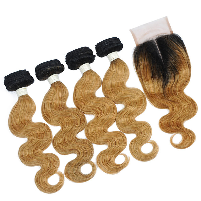 Vvwig Remy Hair 1B 27 Ombre Color 100% Handtied 4 Bundles With Closure Body Wave Hair No Smell Or Shedding
