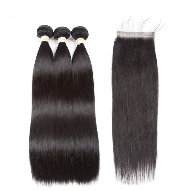 Vvwig Natural Hair Colors Indian Remy Hair 100% Handtied Straight Hair 3 Bundles With Closure No Split Ends