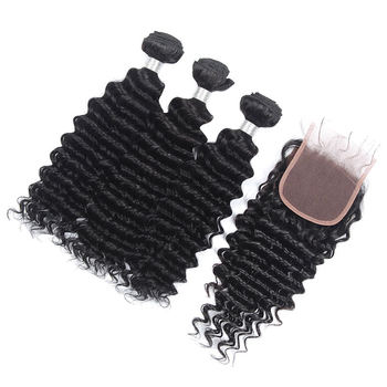 Vvwig Natural Hair Colors Remy Hair Reinforced Machine Double Weft 3 Bundles With Closure Deep Wave Hair Full And Thick - Vvwig.com