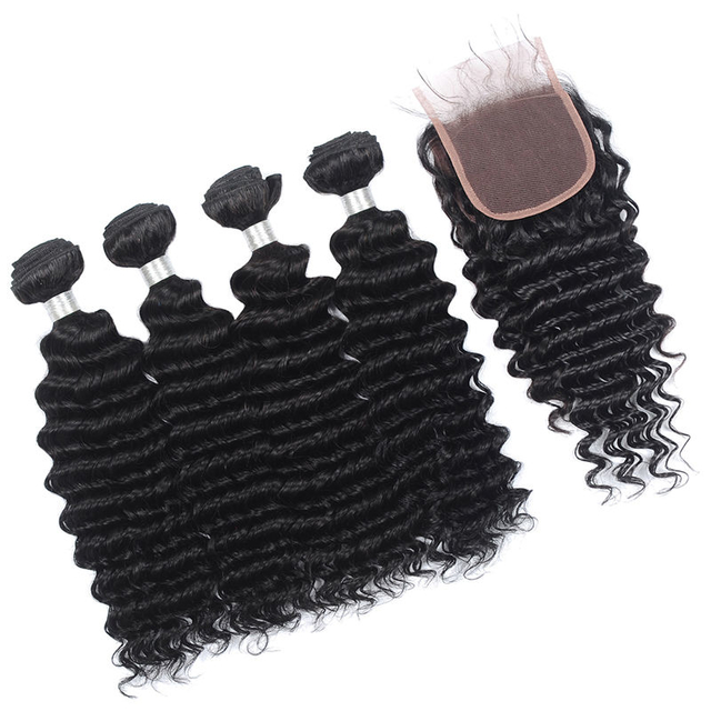 Vvwig Natural Hair Colors Deep Wave Hair Remy Hair Natural Hairline 4 Bundles With Closure Soft And Easy To Style