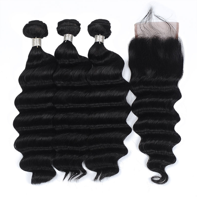 Vvwig Remy Hair Natural Hair Colors Malaysian 3 Bundles With Closure One Direction Cuticles Loose Deep Wave Hair