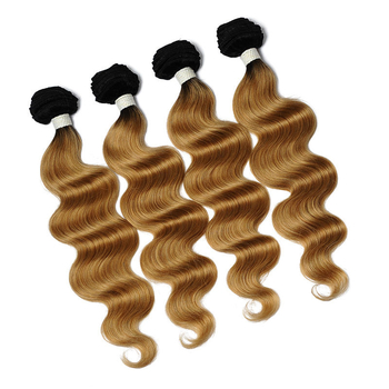 Vvwig 1B 27 Ombre Hair Body Wave Human Hair 4 Bundles With Closure 4 * 4 Lace True To Length Soft And Easy To Style - Vvwig.com